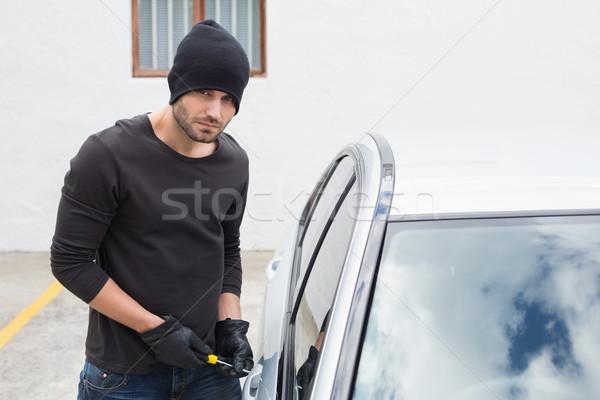 Stock fotó: Tolvaj · autó · csavarhúzó · férfi · biztosítás · kesztyű