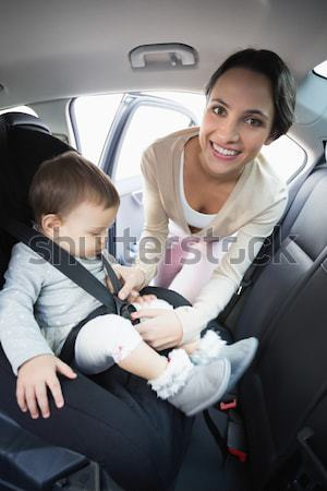 Matka baby samochodu siedziba drogowego chłopca Zdjęcia stock © wavebreak_media