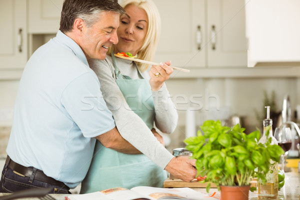 Mature couple preparing vegetarian meal together Stock photo © wavebreak_media
