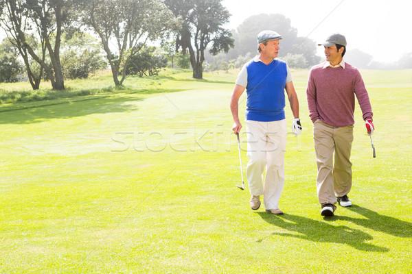 ストックフォト: ゴルファー · 友達 · 徒歩 · ゴルフコース