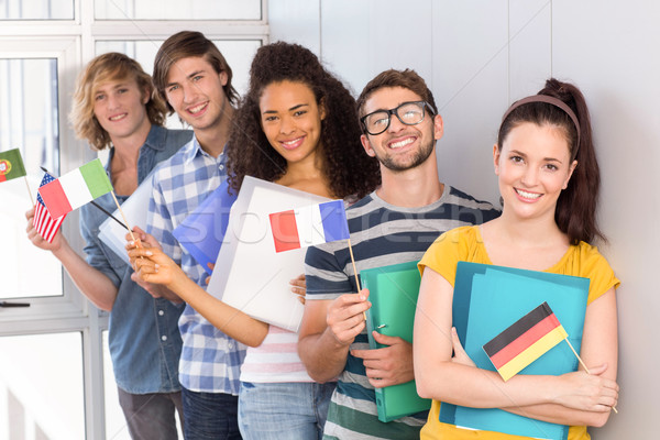 College studenten vlaggen portret gelukkig Stockfoto © wavebreak_media