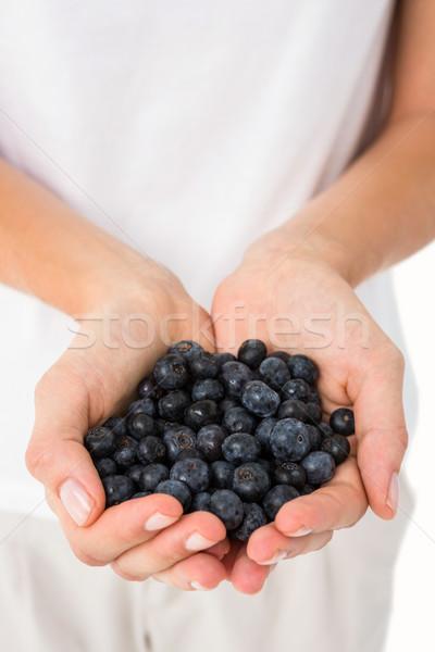 Vrouw bosbessen witte handen voedsel Stockfoto © wavebreak_media