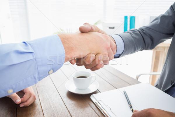 Biznesmen drżenie rąk pracownika biuro ręce pracy Zdjęcia stock © wavebreak_media