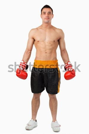 Geeky shirtless hipster posing with dumbbell Stock photo © wavebreak_media