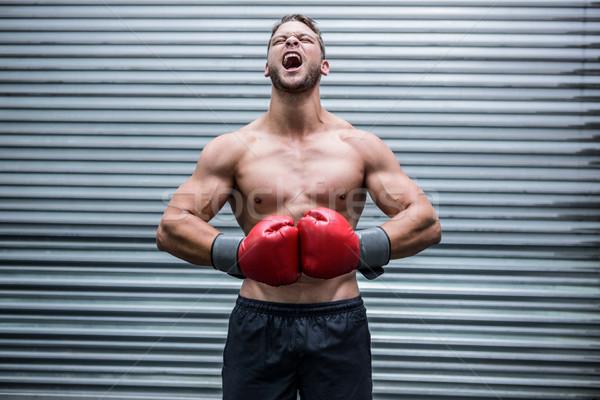 Muskularny bokser krzyczeć crossfit siłowni zdrowia Zdjęcia stock © wavebreak_media