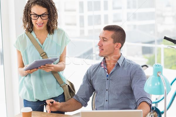 üzlet kollégák megbeszél tabletta kreatív iroda Stock fotó © wavebreak_media