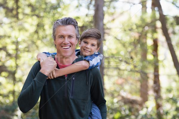 Szczęśliwy ojciec syn turystyka lasu portret Zdjęcia stock © wavebreak_media