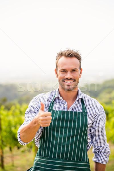 Portré mosolyog férfi mutat remek felirat Stock fotó © wavebreak_media
