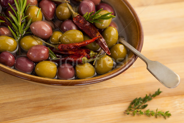 Vista aceitunas rojo chile hierba Foto stock © wavebreak_media