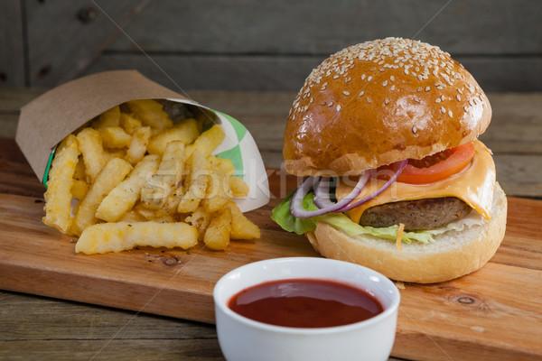 Hamburger, french fries and tomato sauce on table Stock photo © wavebreak_media