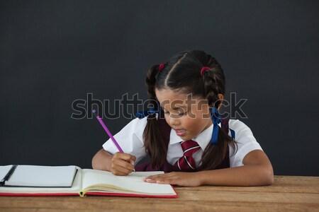 Schoolgirl doing her homework against chalkboard Stock photo © wavebreak_media