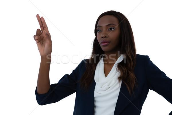 Femme d'affaires interface écran travail blanche technologie Photo stock © wavebreak_media