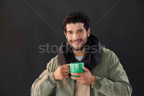 笑みを浮かべて 男 マグ コーヒー 黒 ストックフォト © wavebreak_media