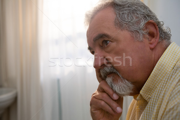 Close up of thoughtful senior man looking away Stock photo © wavebreak_media