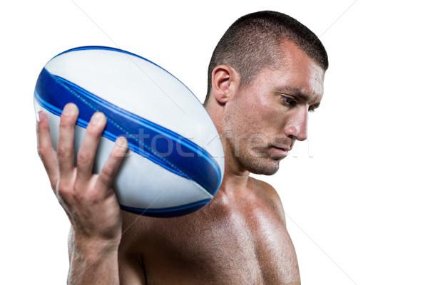 Sérieux torse nu rugby joueur balle Photo stock © wavebreak_media