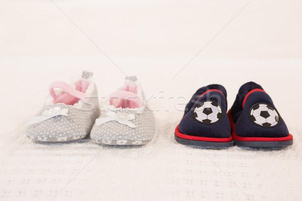 Zuigeling schoenen bed home Blauw Rood Stockfoto © wavebreak_media