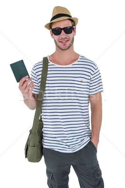улыбаясь красивый мужчина кожа бумажник белый Сток-фото © wavebreak_media