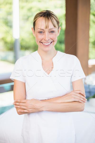 Boldog női masszőr gyógyfürdő portré áll Stock fotó © wavebreak_media