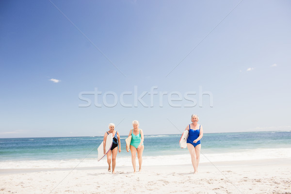 Senior woman friends holding surfboard Stock photo © wavebreak_media