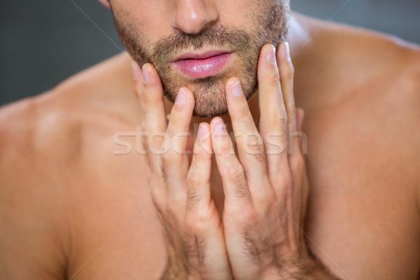 Férfi borosta fürdőszoba közelkép fiatalember arc Stock fotó © wavebreak_media