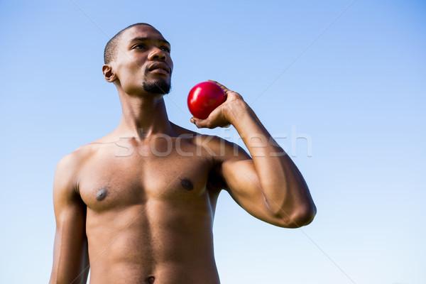 Athlete holding shot put ball Stock photo © wavebreak_media