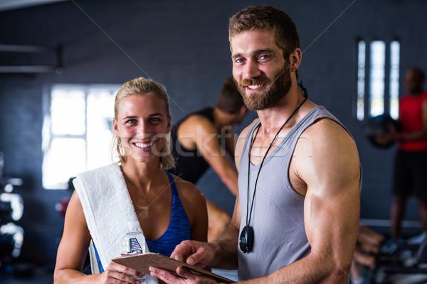 Portre gülen uygunluk eğitmen kadın spor salonu Stok fotoğraf © wavebreak_media