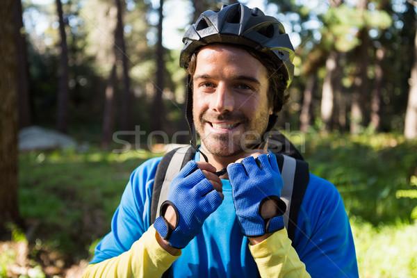 Stock fotó: Portré · férfi · hegy · motoros · visel · bicikli