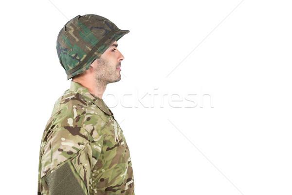 Yandan görünüş asker ayakta beyaz eğlence top Stok fotoğraf © wavebreak_media