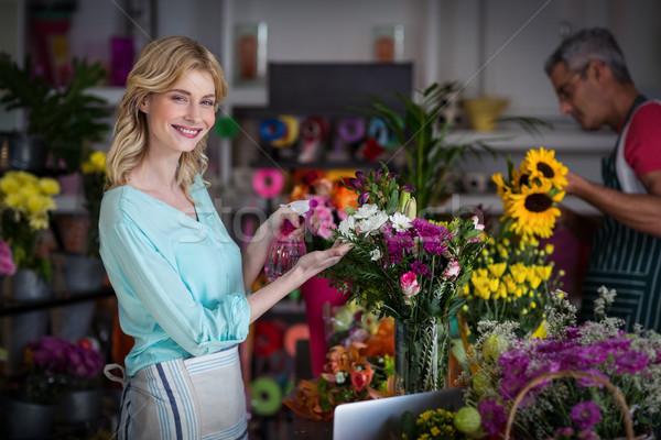 Gülen çiçekçi su çiçekler portre Stok fotoğraf © wavebreak_media