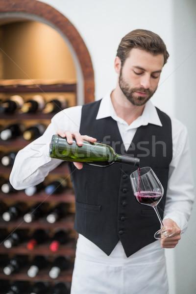 Erkek garson şarap şarap kadehi restoran Stok fotoğraf © wavebreak_media