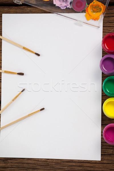 Vernice acquerello vetro palette bianco carta Foto d'archivio © wavebreak_media