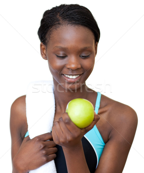 молодые Фитнес-женщины еды яблоко белый женщину Сток-фото © wavebreak_media