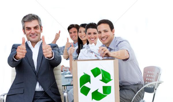 улыбаясь деловые люди Recycle знак служба Сток-фото © wavebreak_media