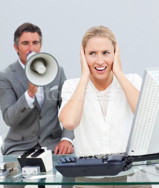 харизматический менеджера мегафон коллега коллеги Сток-фото © wavebreak_media