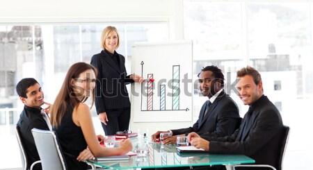Portrait of a smiling business team wearing novelty Christmas hat Stock photo © wavebreak_media