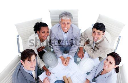 Magasról fotózva sikeres üzleti csapat pirít pezsgő megbeszélés Stock fotó © wavebreak_media