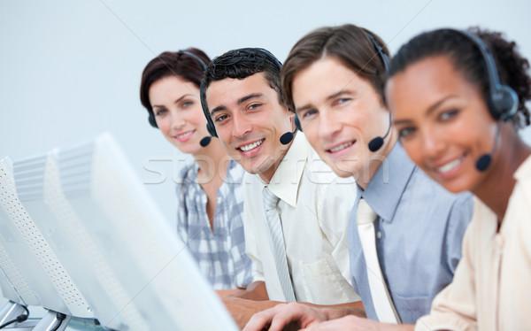 Internationale bedrijfsleven mensen call center hoofdtelefoon computer gelukkig Stockfoto © wavebreak_media