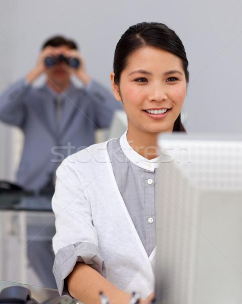 Asian zakenvrouw computer collega business man Stockfoto © wavebreak_media