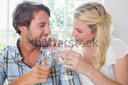 Beautiful woman give medicine to her husband Stock photo © wavebreak_media