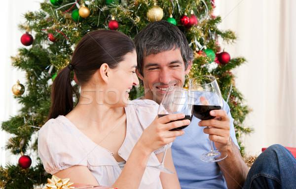 妻 夫 カップル 飲料 ワイン クリスマス ストックフォト © wavebreak_media