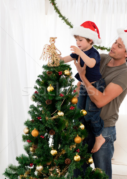 Aranyos fiú karácsonyfa apa nappali család Stock fotó © wavebreak_media