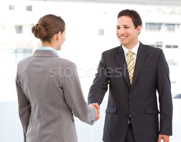 Cheerful businessman and businesswoman concluding a deal by shaking hands  Stock photo © wavebreak_media
