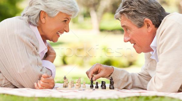 Ouderen paar spelen schaken liefde Maakt een reservekopie Stockfoto © wavebreak_media