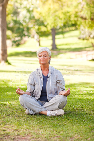 Supérieurs femme yoga parc santé Photo stock © wavebreak_media