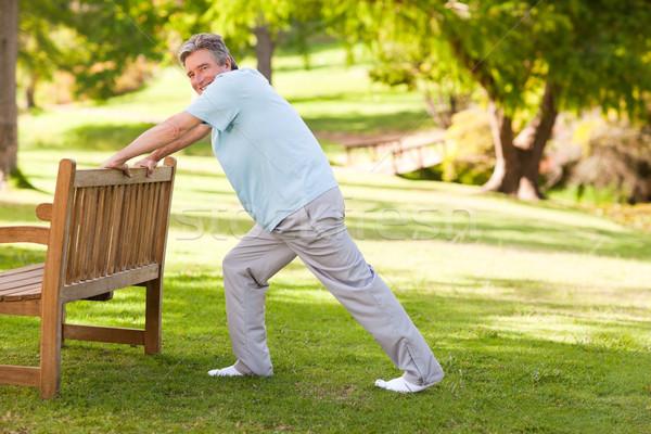Gepensioneerd man park gezondheid persoon mannelijke Stockfoto © wavebreak_media