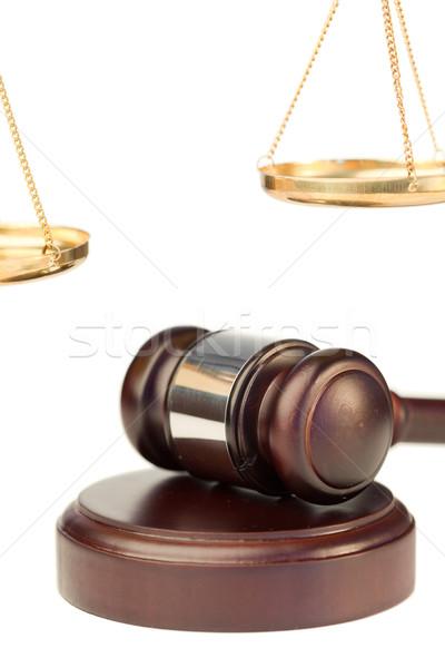 Gabela dourado escala justiça branco madeira Foto stock © wavebreak_media