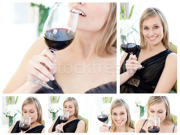 Collage bella donna vetro vino rosso soggiorno Foto d'archivio © wavebreak_media