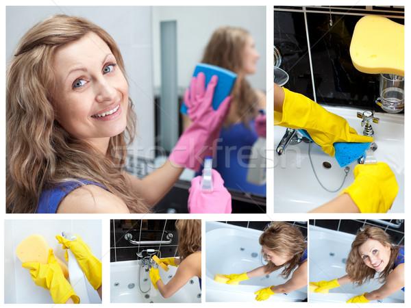 Collage Frau Waschen Bad Spiegel Reinigung Stock foto © wavebreak_media