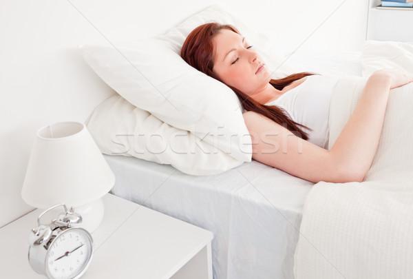 Sevimli kadın uyku yatak kadın mutlu Stok fotoğraf © wavebreak_media