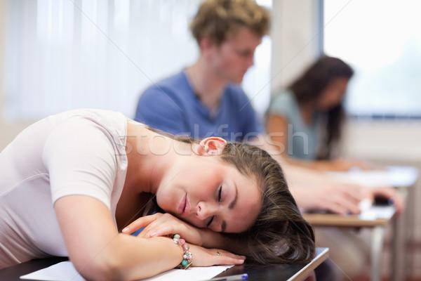 Fáradt diák alszik osztályterem nő kéz Stock fotó © wavebreak_media